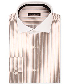 Sean John Men's Classic/Regular Fit Brown Stripe Dress Shirt