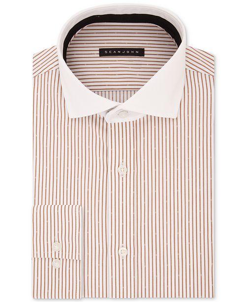 Sean John Men's Classic/Regular Fit Brown Stripe Dress Shirt