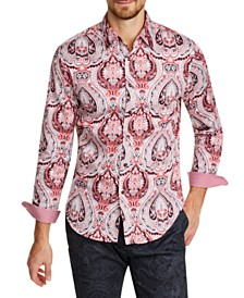 Tallia Men's Slim-Fit Stretch Ornate Paisley Long Sleeve Shirt