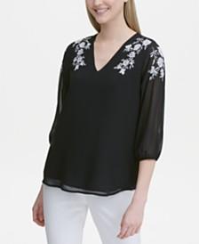 Calvin Klein Embroidered 3/4-Sleeve Top