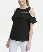 c227953e0dc Calvin Klein Cold-Shoulder Beaded-Trim Top