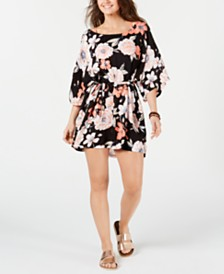 Roxy Juniors' Anthracite New Flowers Printed Cover-Up Dress