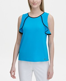 Calvin Klein Sleeveless Ruffle-Trimmed Top