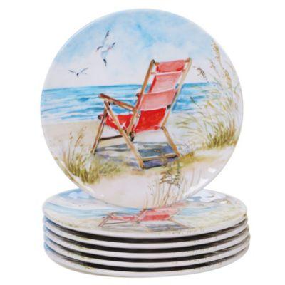 Ocean View Melamine 6-Pc. Salad Plate Set