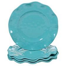 Perlette Teal Melamine 4-Pc. Dinner Plate Set
