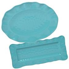 Perlette Teal Melamine 2-Pc. Platter Set - Rectangular and Oval