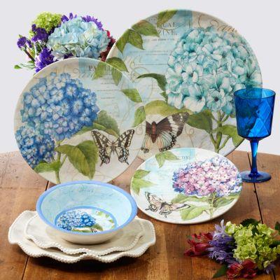 Hydrangea Garden Melamine 6-Pc. Dinner Plate Set