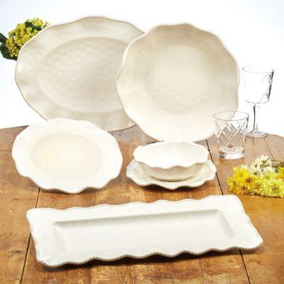 Perlette Cream Melamine 2-Pc. Platter Set - Rectangular and Oval