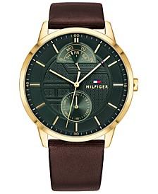 Men's Brown Leather Strap Watch 44mm, Created for Macy's