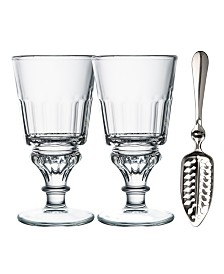 La Rochere 10 oz Absinthe Glasses with Spoon and Recipe - Set of 2