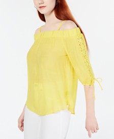 BCX Juniors' Lace-Up Off-The-Shoulder Top