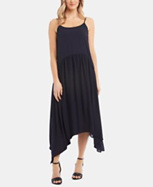 Karen Kane Shirred Handkerchief-Hem Dress