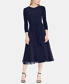 Lauren Ralph Lauren Petite Satin-Trim Fit & Flare Midi Dress