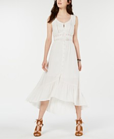 American Rag Juniors' Crochet-Trim High-Low Maxi Dress, Created for Macy's