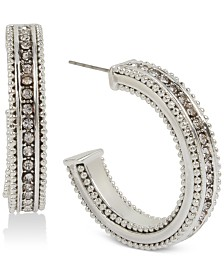 BCBGeneration Silver-Tone Pavé Textured Hoop Earrings