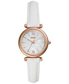 Fossil Women's Carlie Mini White Leather Strap Watch 28mm