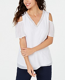 Petite Embellished Cold-Shoulder Top, Created for Macy's