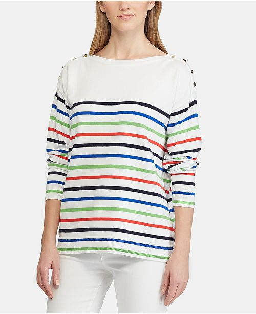 Lauren Ralph Lauren Striped Cotton Sweater