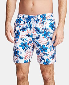 "Men's Blue Sail-Print 8"" Quick-Dry Swim Trunks"