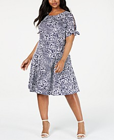 Plus Size Tie-Sleeve Dress