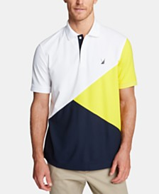 Nautica Men's Blue Sail Classic Fit Moisture-Wicking Diagonal Colorblock Polo, Created for Macy's