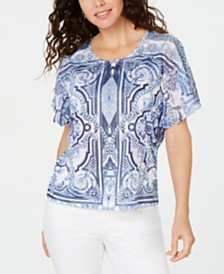 JM Collection Printed Studded Butterfly-Sleeve Top, Created for Macy's