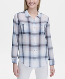 Calvin Klein Plaid Crinkle Button-Up Shirt