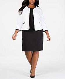 Plus Size Piped Jacket & Sheath Dress Suit