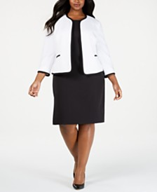 Le Suit Plus Size Piped Jacket & Sheath Dress Suit