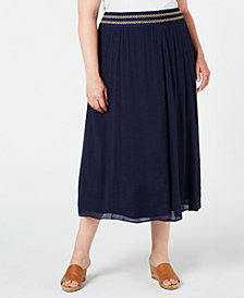JM Collection Plus Size Cross-Hatch Skirt, Created for Macy's