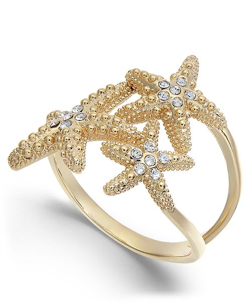 Charter Club Gold-Tone Crystal Starfish Ring, Created for Macy's