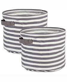 Design Import Herringbone Woven Cotton Laundry Bin Stripe, Round, Set of 2