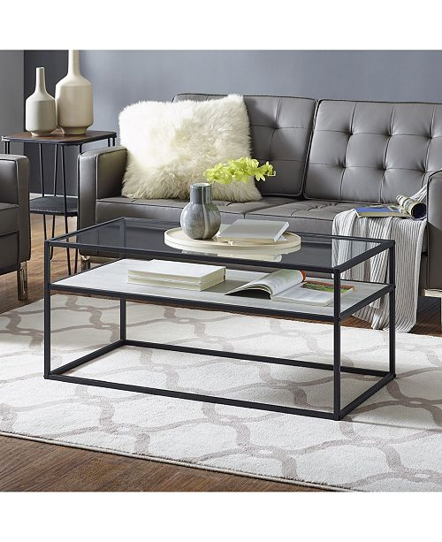 Walker Edison Modern Reversible Shelf Coffee Table