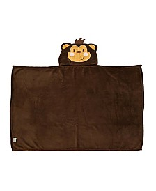 Toddler Plush Monkey Hooded Blanket