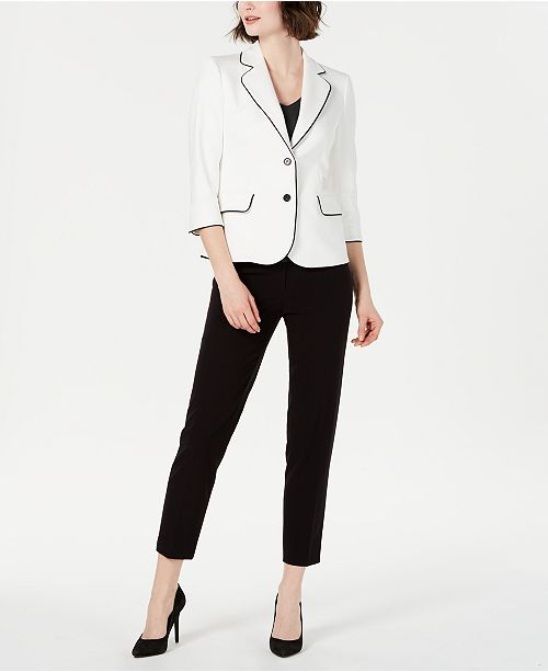 Anne Klein Piped Blazer, V-Neck Top & Slim-Leg Pants