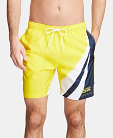"Nautica Men's Blue Sail Colorblocked Quick Dry 8"" Swim Trunks, Created for Macy's"