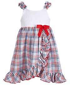 Little Girls Plaid Ruffle-Front Dress