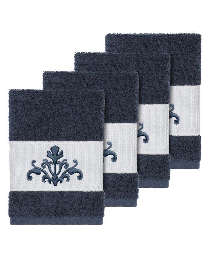 Linum Home - Turkish Cotton Scarlet 4-Pc. Embellished Washcloth Set