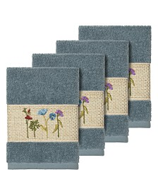 Linum Home Turkish Cotton Serenity 4-Pc. Embellished Washcloth Set