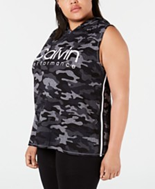 Calvin Klein Performance Plus Size Camo Print Varsity-Stripe Sleeveless Hoodie