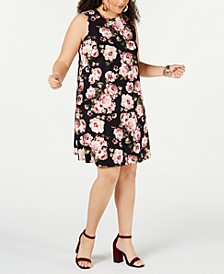 Plus Size Trendy Plus Size  Sleeveless Floral Knit Dress