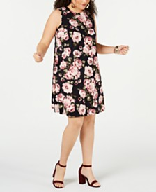 BCX Plus Size Juniors' Sleeveless Floral Knit Dress