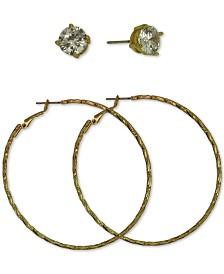 GUESS Gold-Tone 2-Pc. Set Cubic Zirconia Stud & Textured Hoop Earrings