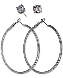 GUESS Silver-Tone 2-Pc. Set Cubic Zirconia Stud & Hoop Earrings