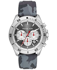 Michael Kors Men's Chronograph Theroux Sport Gray Camo Silicone Strap Watch 45mm
