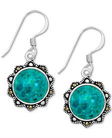 Reconstituted Turquoise & Marcasite Flower Drop Earrings in Fine Silver-Plate