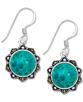 3cd97c965 Reconstituted Turquoise & Marcasite Flower Drop Earrings in Fine Silver -Plate