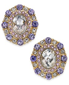 Charter Club Gold-Tone Purple Crystal Stud Earrings, Created for Macy's
