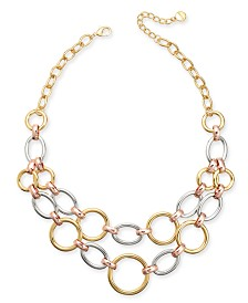 "Alfani Tri-Tone Link Two-Row Frontal Necklace, 17"" + 2"" extender, Created for Macy's"