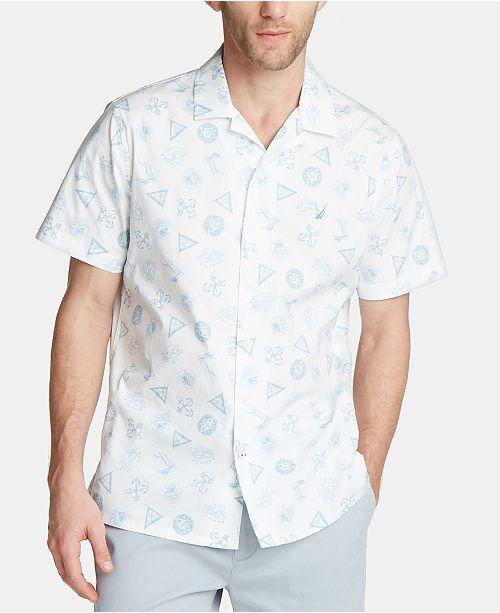 Nautica Men's Blue Sail Screenprint Camp Collar Shirt, Created for Macy's